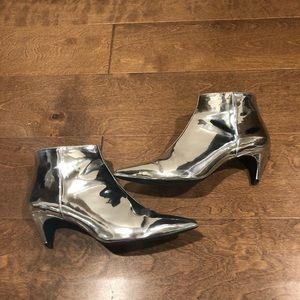 Zara Silver Heel Ankle Boots